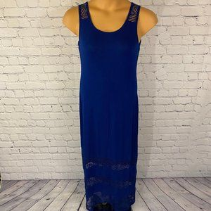 Spense Blue Sleeveless Maxi Dress w/ Lace Details